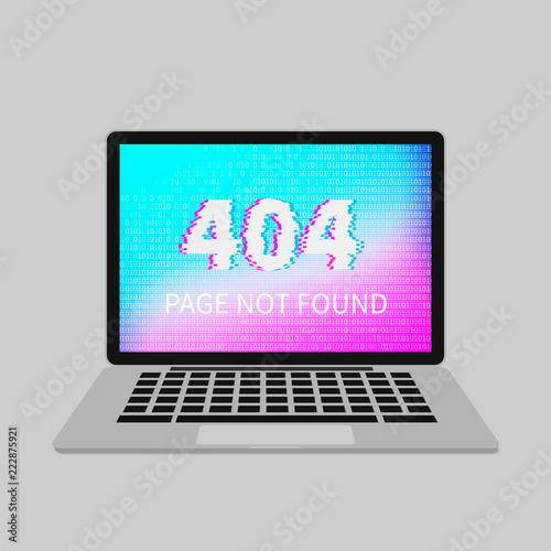 404 error on laptop screen with glitch effect page not found