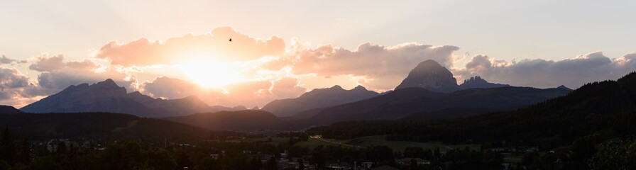 Sun sets over the Canadian Rocky Mountains Wall mural
