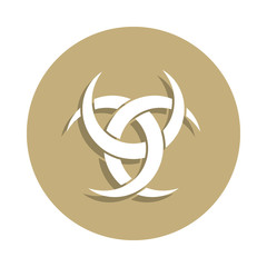 Paganism Odin horns sign icon in badge style. One of religion symbol collection icon can be used for UI, UX