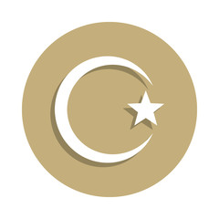 Islam Star and crescent sign icon in badge style. One of religion symbol collection icon can be used for UI, UX