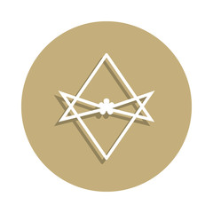 Thelema Unicursal hexagram sign icon in badge style. One of religion symbol collection icon can be used for UI, UX