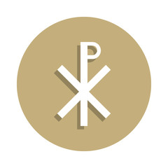 Christianity Chi Rho sign icon in badge style. One of religion symbol collection icon can be used for UI, UX