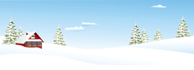 Christmas winter landscape with small settlement