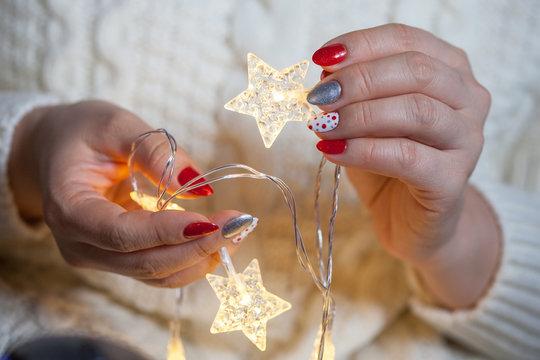 Christmas Nail art manicure. Winter Holiday style bright Manicure