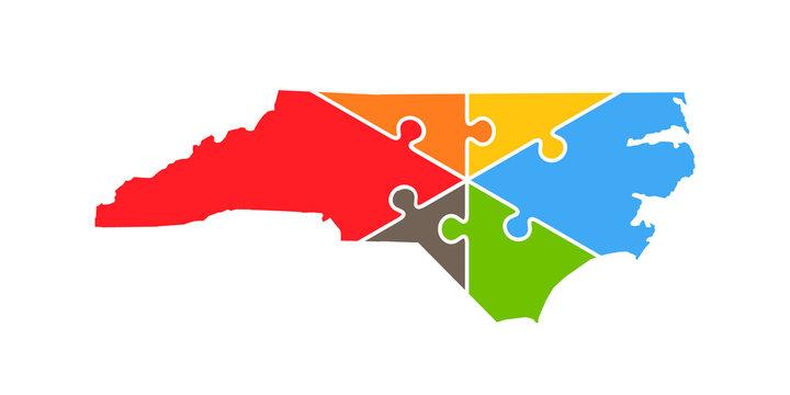North Carolina Puzzle Rebuild Logo Vector Illustration