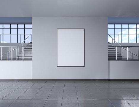 Modern school corridor interior with empty poster on wall. Mock up, 3D Rendering illustration