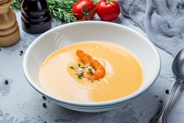 Pumpkin cream soup with shrimp