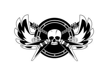 Skull music logo rock'n'rool wih guiars