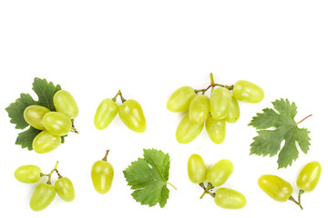 green grapes isolated on the white background with copy space for your text. Top view. Flat lay...