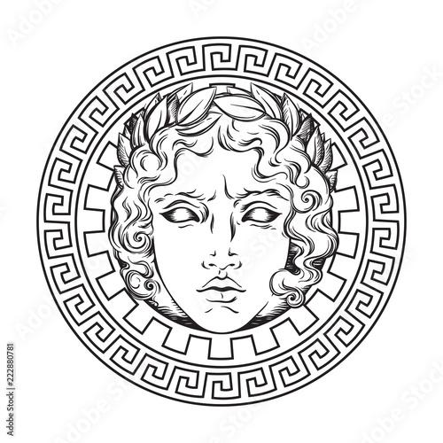 Greek And Roman God Apollo Hand Drawn Antique Style Logo Or Print Design Art Vector