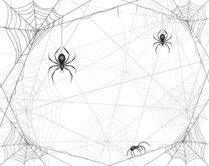 Halloween background with spiders and cobwebs