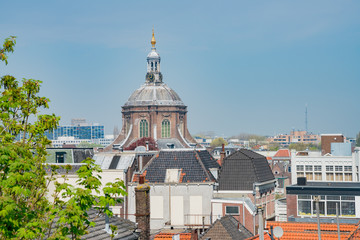 Aerial view of the Leiden cityscape from the historical Burcht van Leiden castle