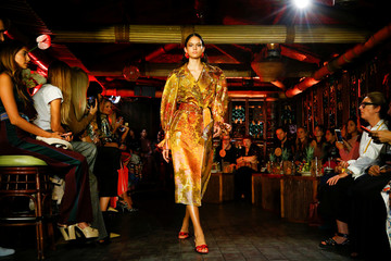 Models present creations during Peter Pilotto  catwalk show at London Fashion Week Women's in London