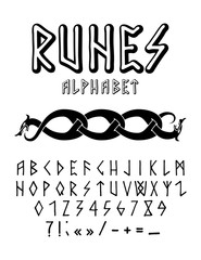 Vector illustration - runic style hand drawn alphabet