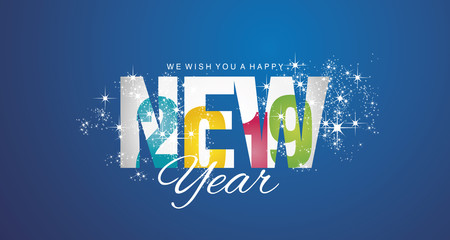 Happy New Year 2019 inside firework colorful blue abstract background