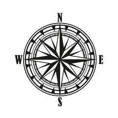 Vintage compass wind rose icon