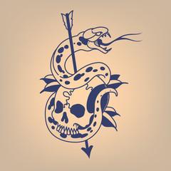 Snake on a skull pierced with an arrow