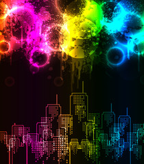 abstract grunge rainbow city