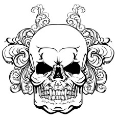 Skull with elements of a vegetative ornament