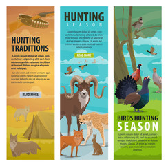 Animal, bird and hunter on hunting sport banners