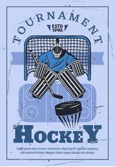Ice hockey goalie in gates