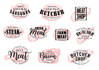 Sausage and meat lettering, butcher shop