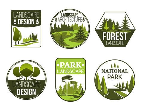 Landscape design service vector icons
