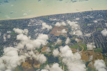 Aerial view of the beautiful landscape around West Sussex