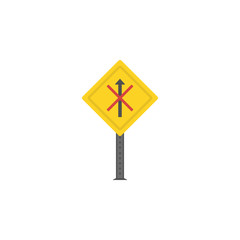 No straight colored icon. Element of road signs and junctions icon for mobile concept and web apps. Colored No straight can be used for web and mobile