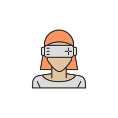 Vr glasses front woman colored icon. Element of Virtual reality icon for mobile concept and web apps. Color Vr glasses front woman icon can be used for web and mobile