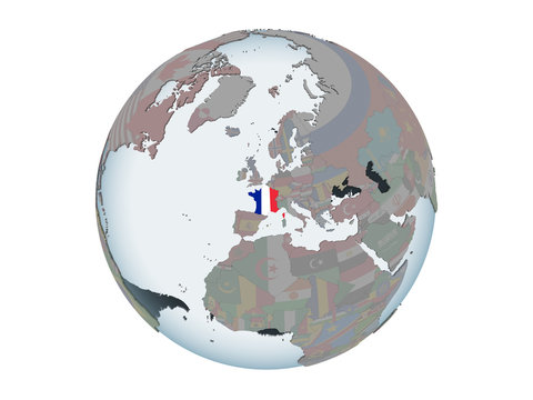 France with flag on globe isolated