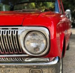 Papiers peints Rouge, noir, blanc headlight of red car