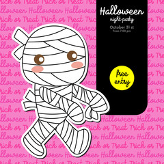 Cute Halloween design concept with boy in Mummy costume for poster, banner, party invitation, greeting card. Vector Illustration.