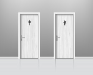 Toilet doors for male and female genders. WC Door for man and woman. Vector
