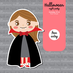 Cute Halloween design concept with girl in Dracula costume for poster, banner, party invitation, greeting card. Vector Illustration.