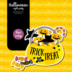 Cute Halloween design concept with trick or treat candy pumpkin bucket for poster, banner, party invitation, greeting card. Vector Illustration.