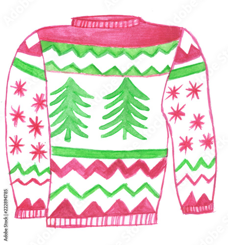 Ugly christmas sweater pink. Stock photo and royalty
