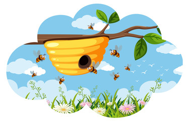 Beehive with bees on branch