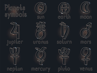 Vector set of 3d astrological planets symbols. Gold contour. Signs collection: sun, earth, moon, saturn, uranus, neptune, jupiter, venus, mars, pluto, mercury.
