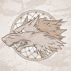 Vector illustration with wolf's head and dreamcatcher on grange background. Roaring wolf.