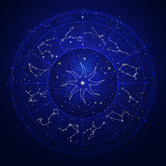 Illustration with Horoscope circle and Zodiac constellation on the starry night sky background. Vector illustrations in blue color.