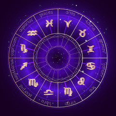 Illustration with Horoscope circle and Zodiac symbols on the starry night sky background with geometry pattern. Zodiac sign Vector illustrations in purple color. Gold elements.