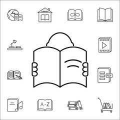 a man with an open book icon. Books and magazines icons universal set for web and mobile