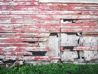 Close-up photograph of the side of a weathered wood barn with red paint pealing off of old grey colored wood siding with rusted nails and pieces missing.