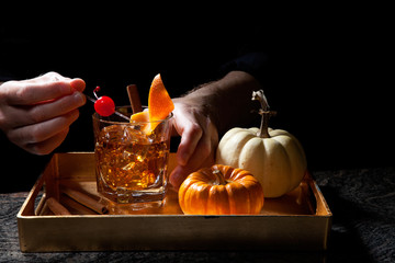 Fall Drinks in Bar - Old Fashioned Whiskey Cocktail