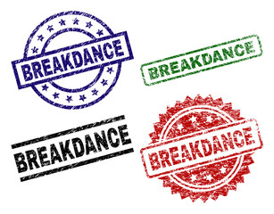 BREAKDANCE seal prints with damaged surface. Black, green,red,blue vector rubber prints of BREAKDANCE title with scratched surface. Rubber seals with circle, rectangle, medallion shapes.
