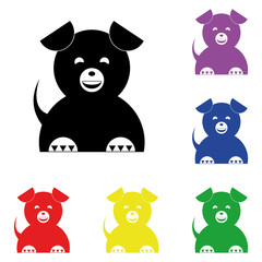Elements of dog in multi colored icons. Premium quality graphic design icon. Simple icon for websites, web design, mobile app, info graphics