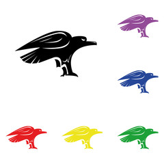 Elements of eagle in multi colored icons. Premium quality graphic design icon. Simple icon for websites, web design, mobile app, info graphics
