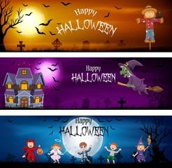 Three set of Halloween Banners