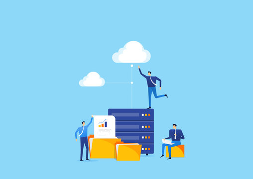 business technology storage server connect to cloud  computing  service concept with people business team working